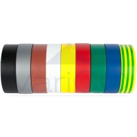 PVC Insulation Electrical Tape 19mm X 20M Mixed Colour Pack of 10 Rolls