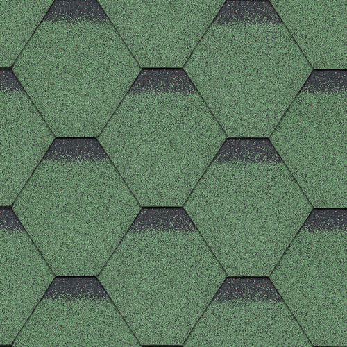 Bitumen Roofing Shingles Green Hexagonal 3m² Pack